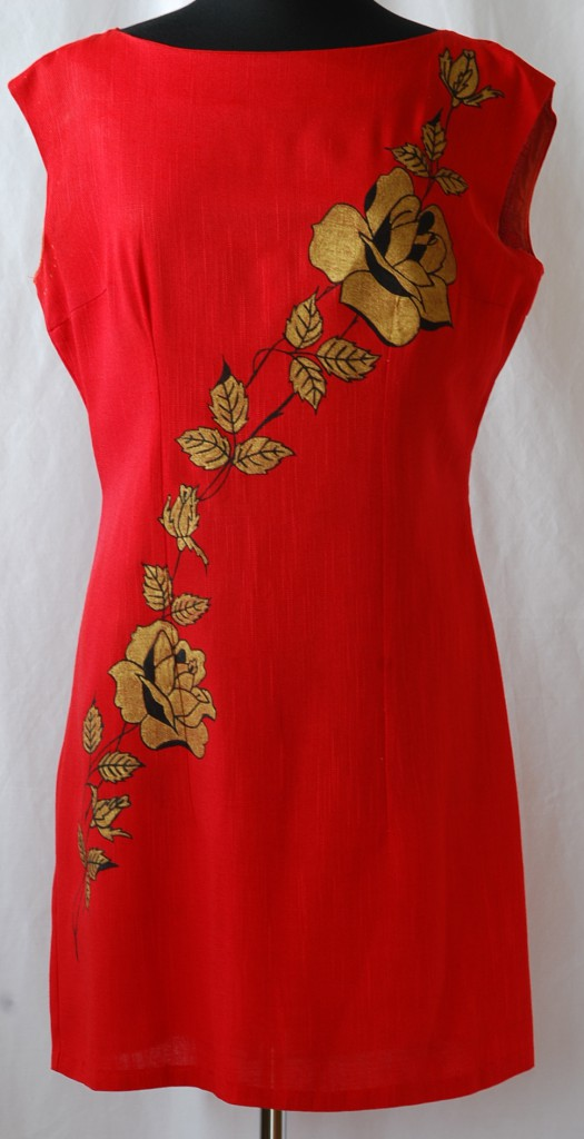 1960's hand painted red linen mini dress