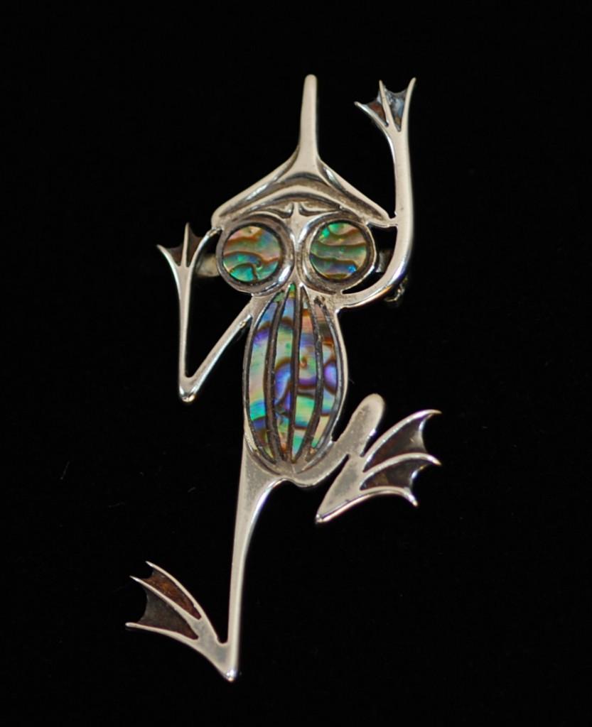 Haida artisan sterling silver and abalone frog pin