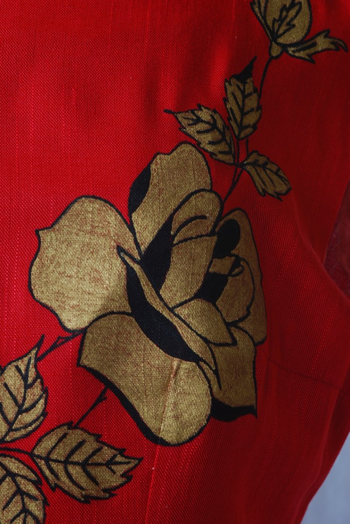 Hand Painted Rose on 1960's Red Linen Mini Dress