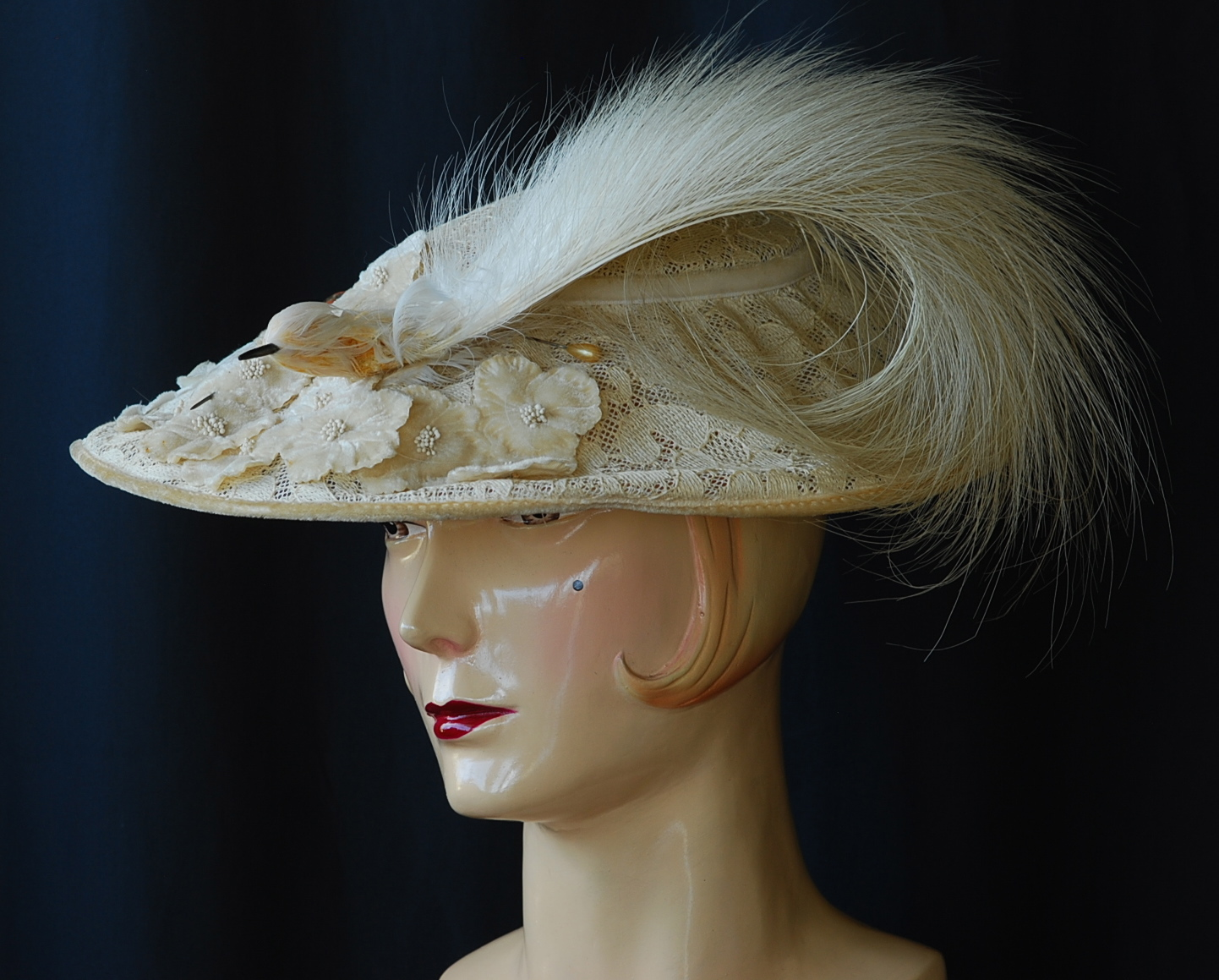 1930s Embroidered Hat With Egret Feather