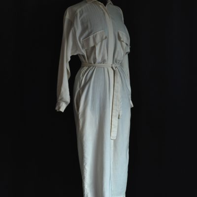 Hardy Amies vintage off white, belted shirt dress , made in London.