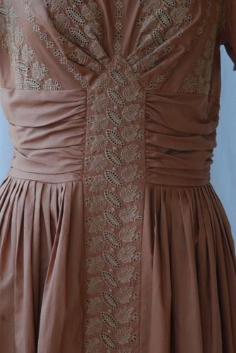 1950's Hand Embroidered Designer Cotton Designer Dress