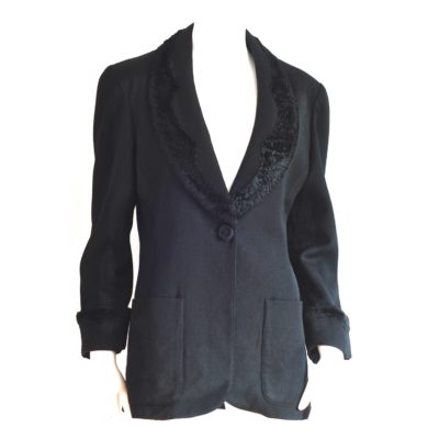 Fendi 365 by Contir black wool blazer with crushed velvet trim, made in Italy