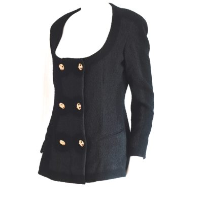 Donna Karan contemporary black wool blazer with gold tone buttons, made in USA