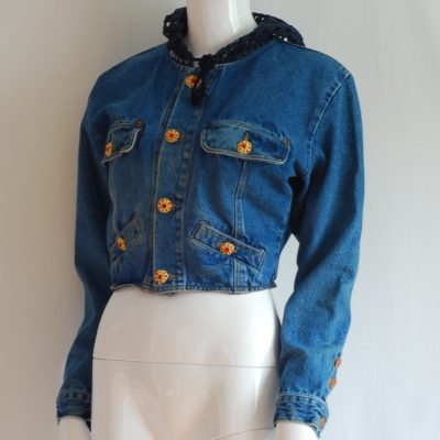 Spector's Jean Jacket With mesh hood, jewel buttons and detailed embroidery. Made in France