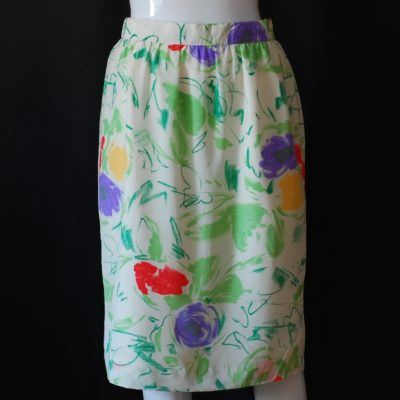 Louis Feraud Abstract Floral Silk Skirt - Germany