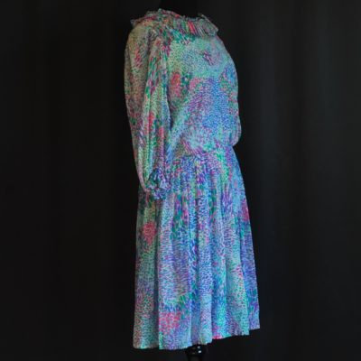 Meme Dysthe 1970's silk dress with tiny floral pattern, made in Canada.