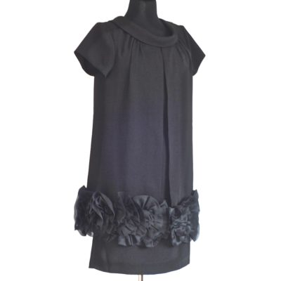 Paul & Joe little black dress with silk flower flounce, made in France