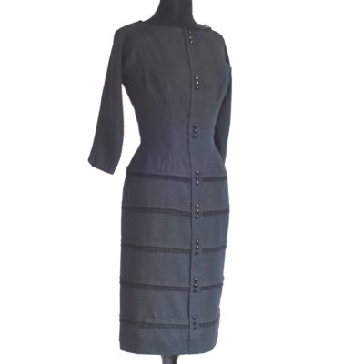 Pat Hartly Black 1950s Bombshell Dress, made in USA