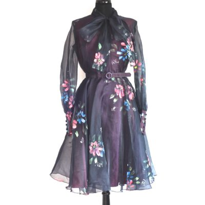 Daymor Couture 1970s hand painted, flared party dress with front tie, made in Canada