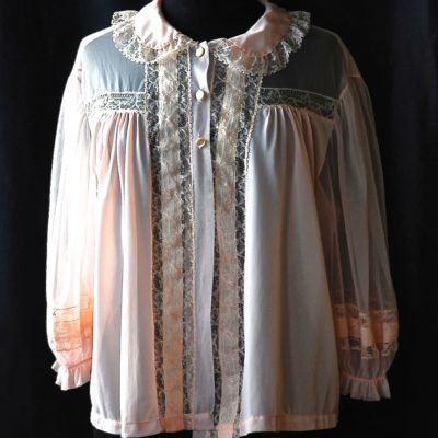 Kayser Luxite 1950's pink nylon bed jacket with ribbon and lace insets