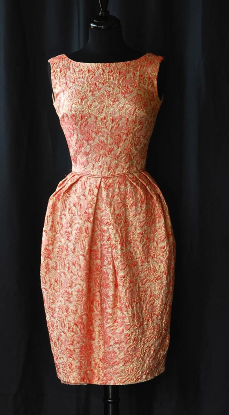 1950s Pink Brocade Wiggle Dress