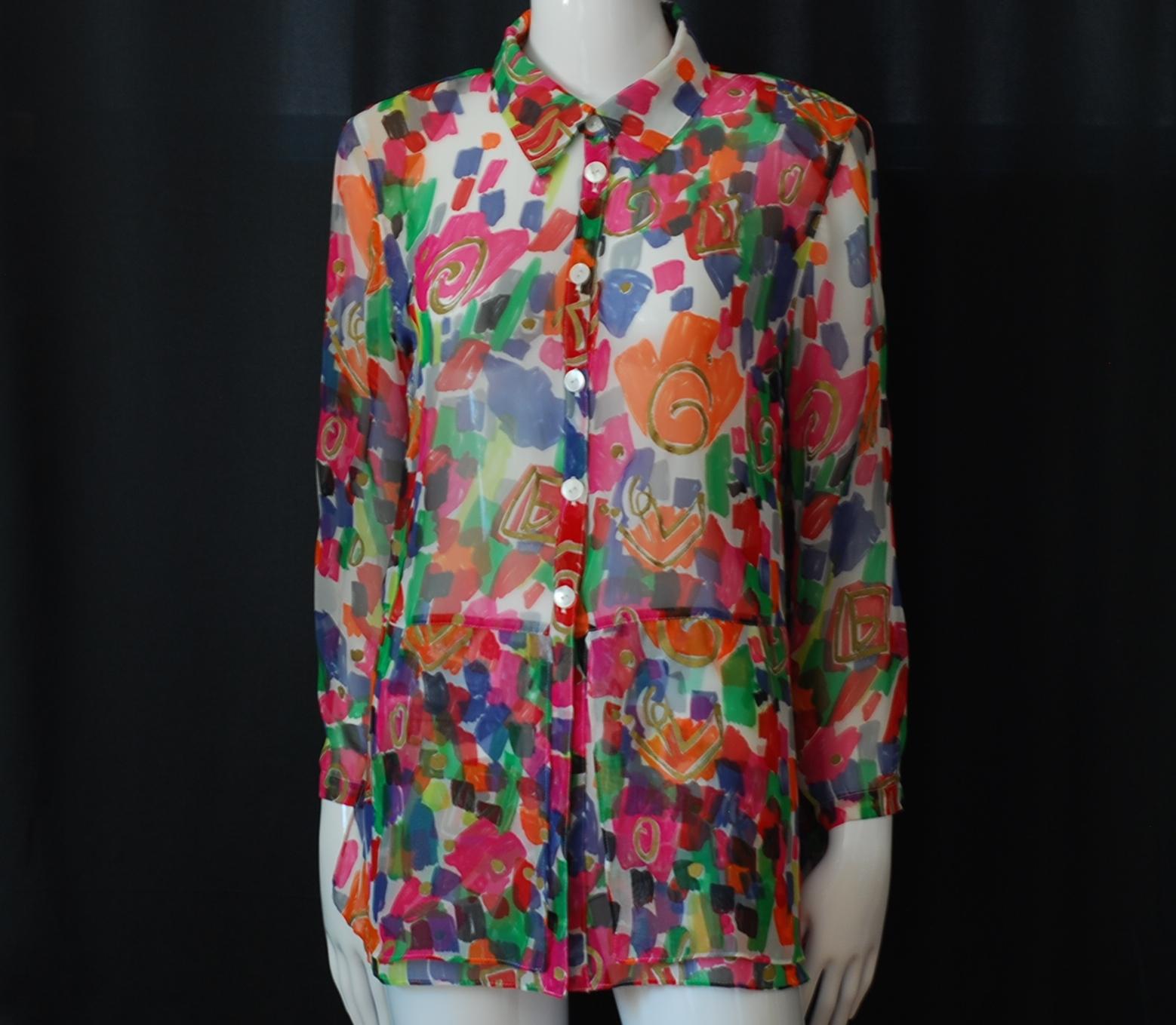 ea66ab237 Louis Feraud Licensed Summer Silk Over Blouse | QUIET WEST VINTAGE