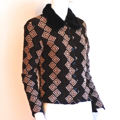 Jeff Gallanos 1970's Geometric jacquard blazer with faux fur collar, made in France