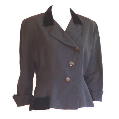 Original Denoir 1940's black velvet trimmed asymmetrical blazer