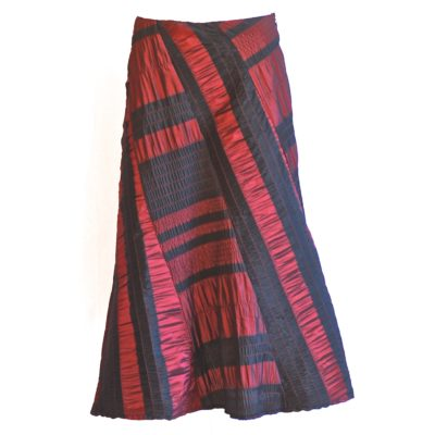 Okimai burgundy and black midi skirt , made in Italy