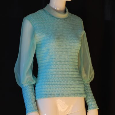 1960's blue ruched blouse with chiffon sleeves and metal back zipper