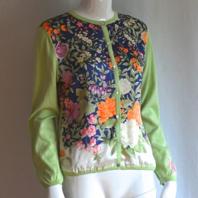 Balla Valentina light summer cardigan with silk floral print, made in Italy