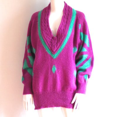 Escada 1980's blue and purple mohair oversize sweater- Germany