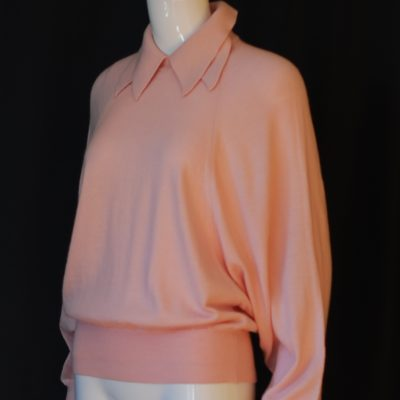 Rodier pink wool sweater with bat wing sleeves and double collar, made in France