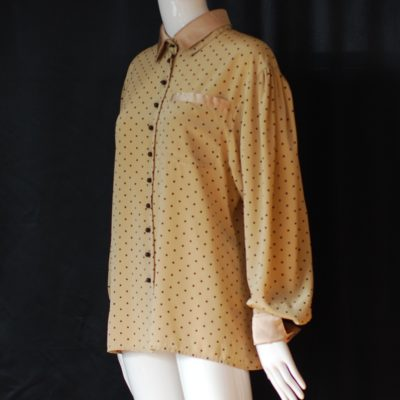 Louis Feraud gold and black polka dot blouse, made in germany