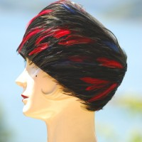 Ellen Faith Original 1950's black, red, and blue Feathered Hat