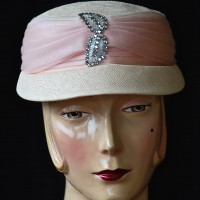 Hudson's Bay 1960's Pink Straw Hat With Rhinestone Accents