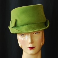 1960's Saucy Green Velvet hat