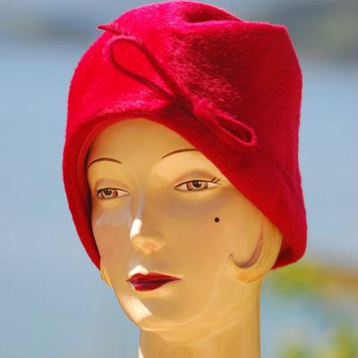 Splendid 1960's Red Brimless Sealskin Hat, made in Northern Ireland