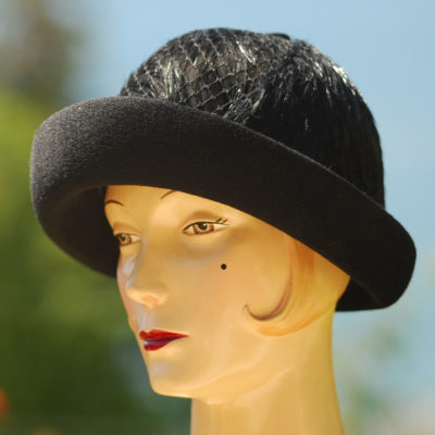 Lilly Dache 1960's Black Feather & Felt Hat
