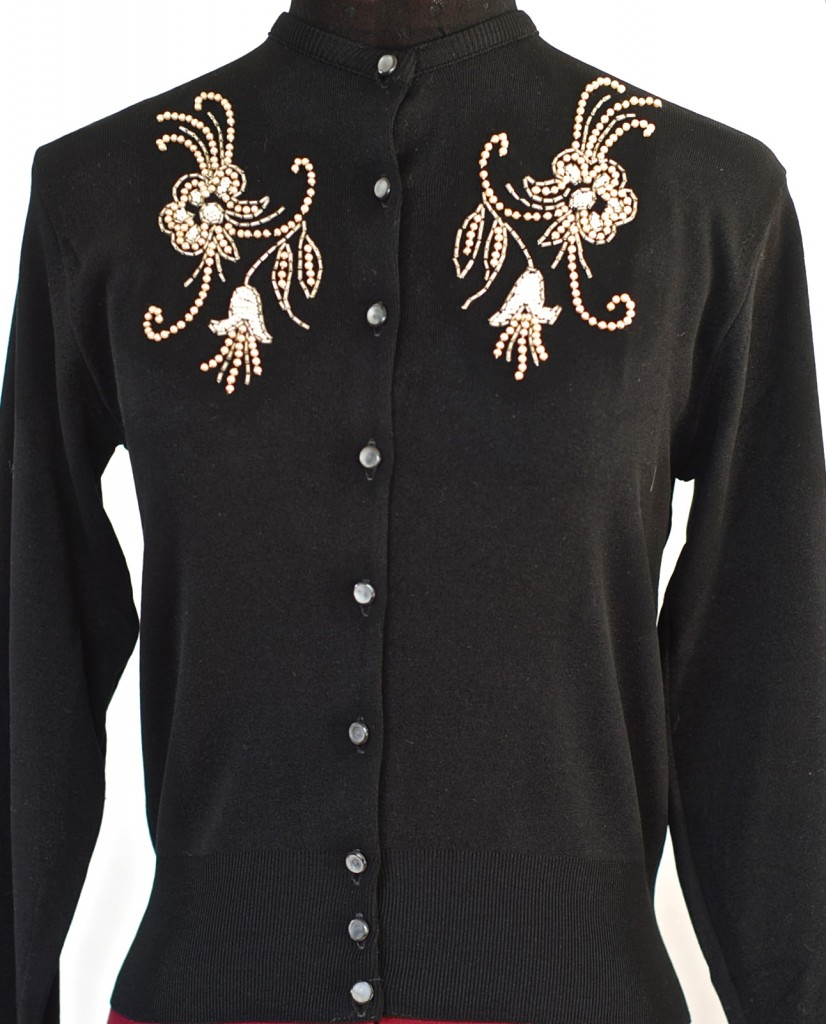 Lady Anne black ban-lon sweater with white beadwork, made in Canada