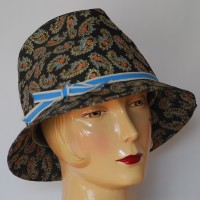 1960's Paisley Blue, Orange & Gold Hat