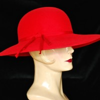 Georgette 1960's Wide Brimmed Red Felt Hat
