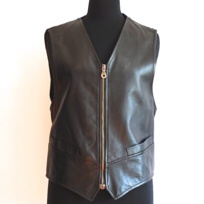 Iceberg 1994 black lamb leather vest with wool back and lining printed with bats, made in Italy