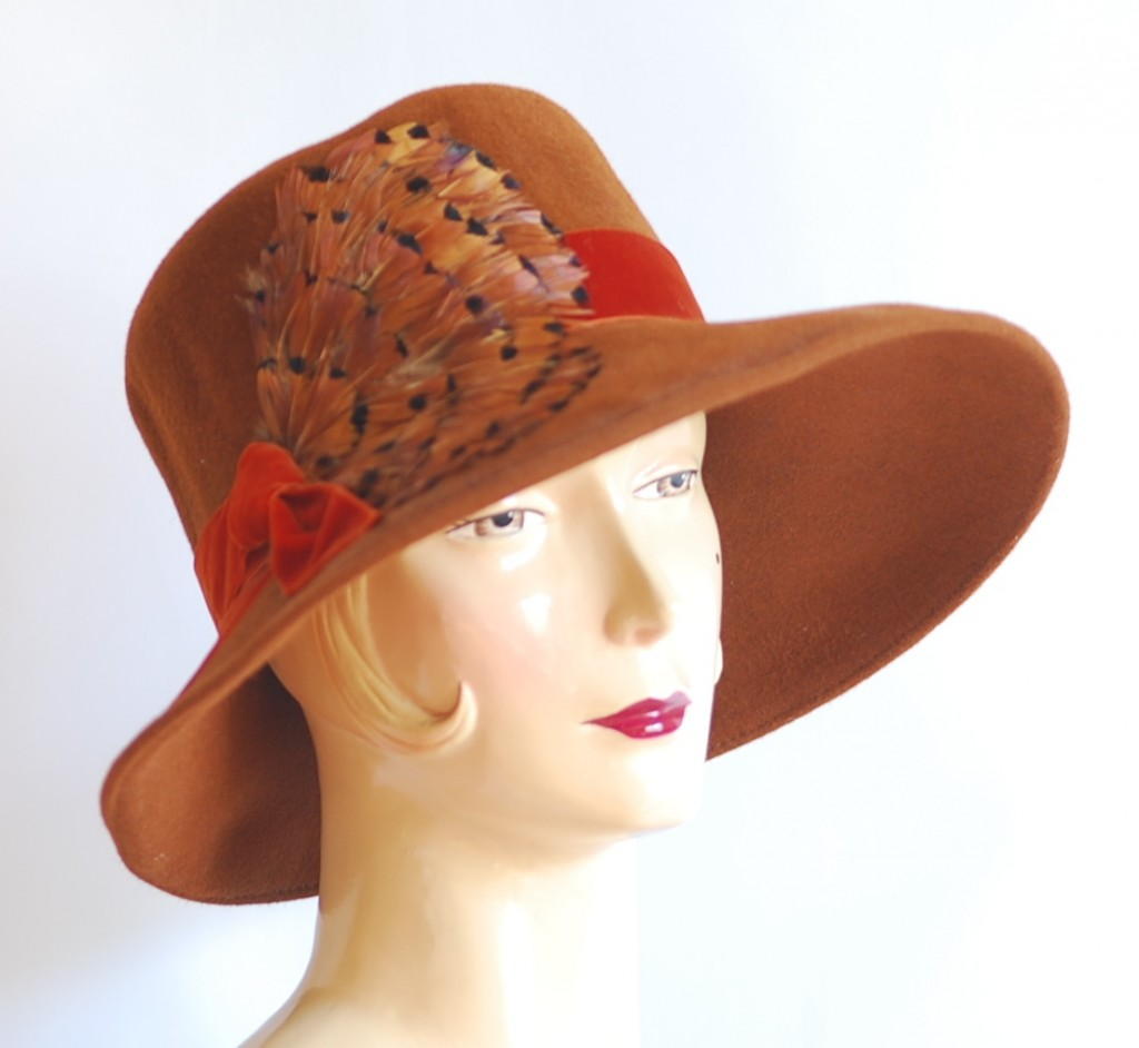 Lilliput Feathered Vintage Fedora in brown tones. made in Toronto, Canada