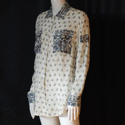 Pierre Blamain long sleeved paisley patterned over blouse, made in Italy.