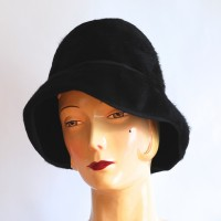 Strathmore by Newton black felt vintage hat made in New York