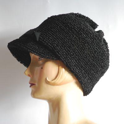 Mollie Entwistle 1960's black straw hat