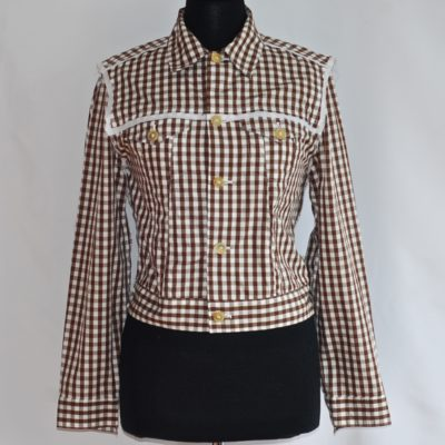 Comme des Garcons brown and white gingham cotton jacket, made in Italy