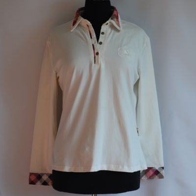 Burberry plaid trimmed off white casual top, made in England