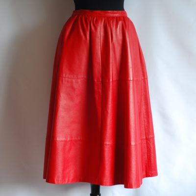 Philippe Salvet flared red leather skirt, made in France