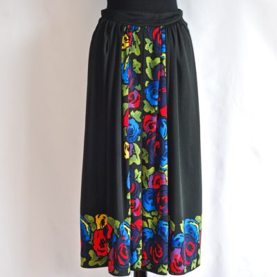 Roberta di Camerino 1977 colourful floral print on black, midi skirt, made in Italy