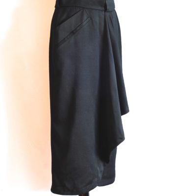 Byblos black wool midi skirt with front ruffle, made in Italy