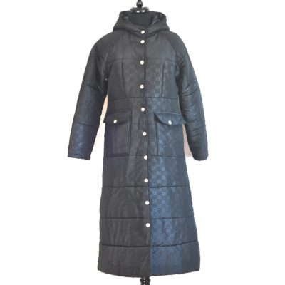 Gucci black logo imprinted winter midi coat with hood, made in Italy.