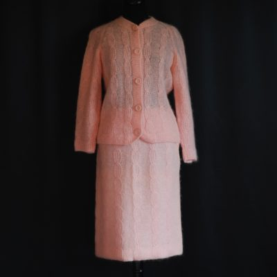 1960's pink wool skirt and sweater set, made in Italy
