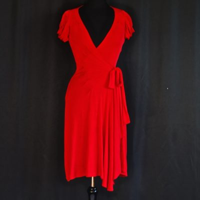 Diane von Furstenberg red wrap dress, made in USA
