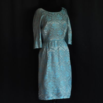 Distinctively Yours 1950's blue brocade dress, made in Canada