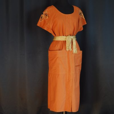 Morly's 1981 ochre coloured, embroidered shift dress with big front pockets, made in Italy.