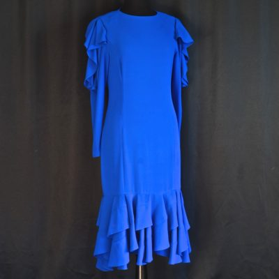 Frank Usher cobalt blue 1980s' dress with flounced bottom, made in the UK.