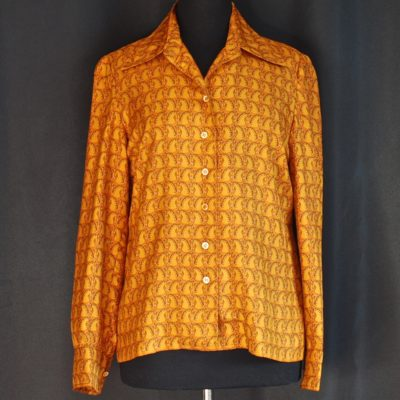 Hermes gold tone 1970's horse's head silk blouse, made in France